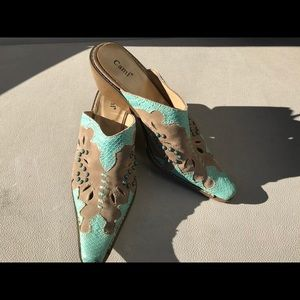 Western style turquoise leather mules